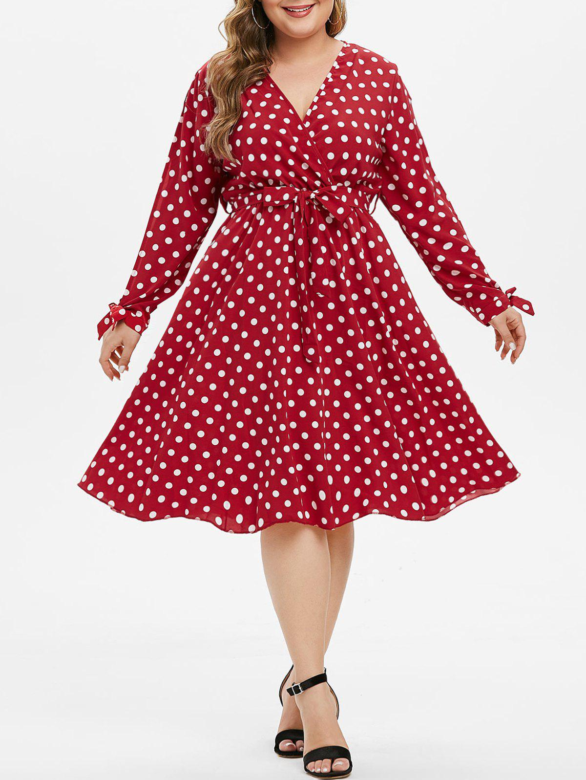 New Knotted Belted Polka Dot Split Sleeve Plus Size Surplice Dress