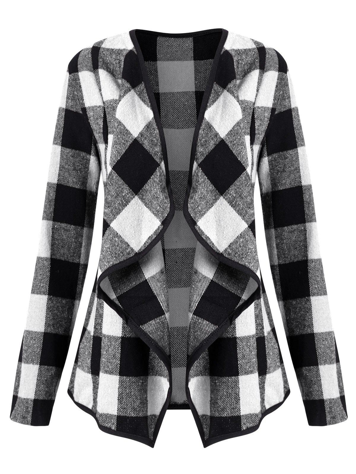 Shops Plaid Draped Collarless Jacket