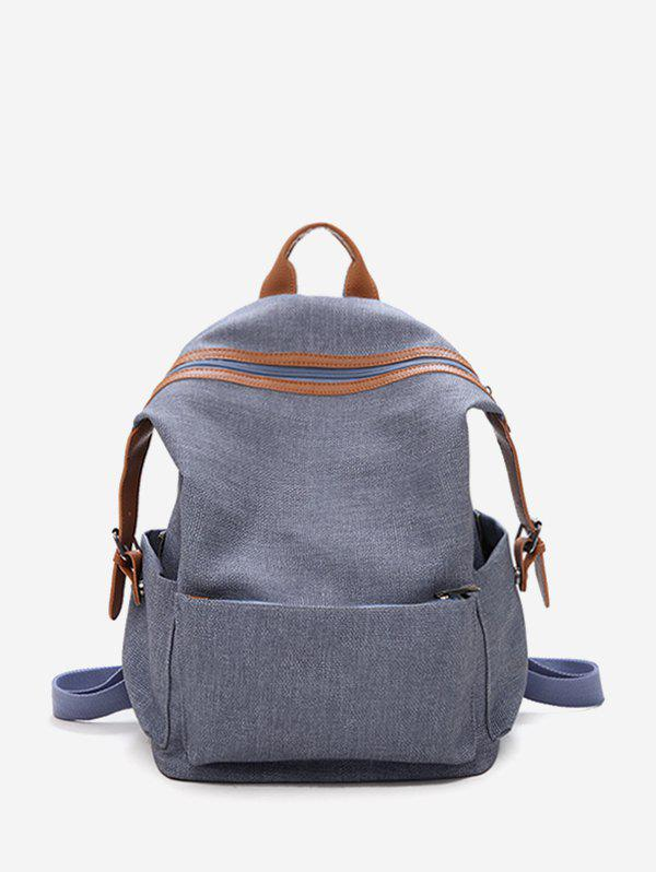 Shop Contrast Trim Dual Buckle Casual Backpack