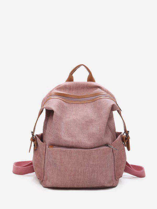 Fashion Contrast Trim Dual Buckle Casual Backpack