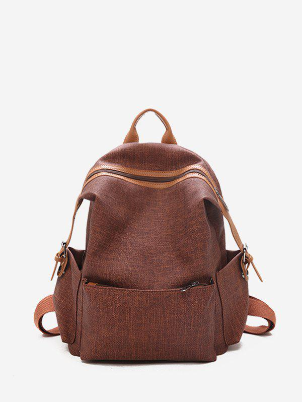 Store Contrast Trim Dual Buckle Casual Backpack