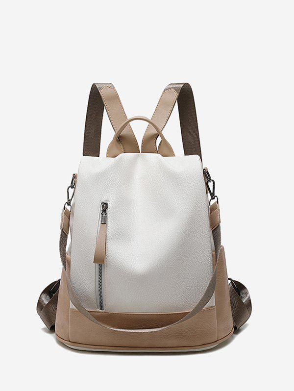 Fancy Two Tone PU Leather Casual Backpack