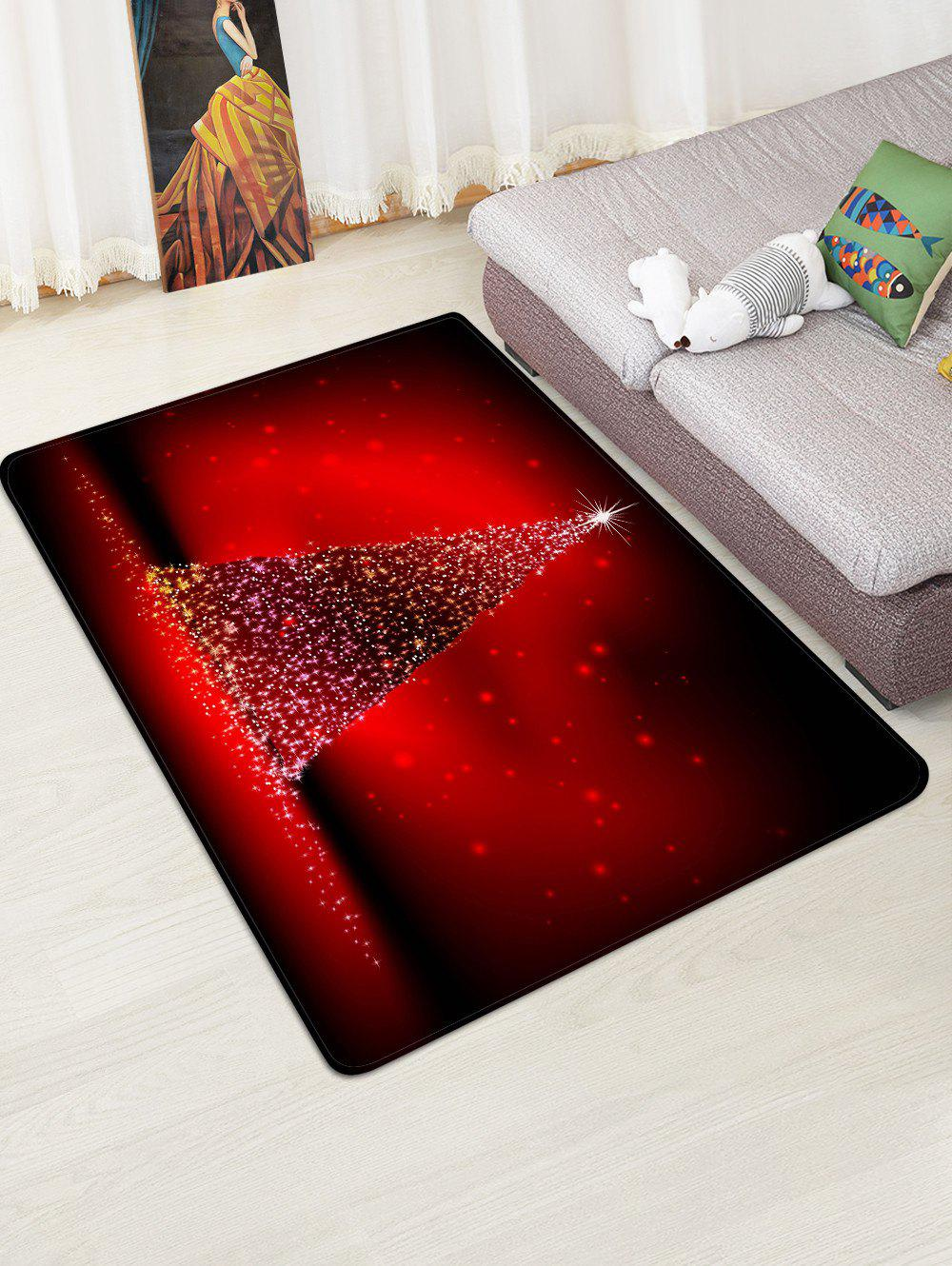 Unique Christmas Tree Lights Print Floor Rug