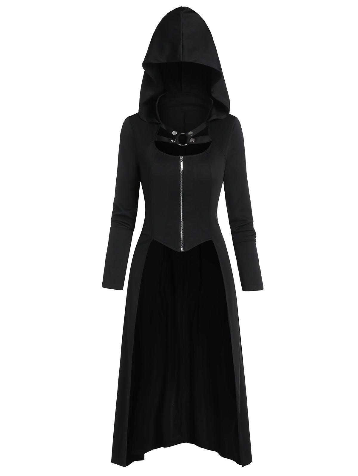 Sale Harness Insert Lace-up Zip Up Hooded High Low Gothic Coat