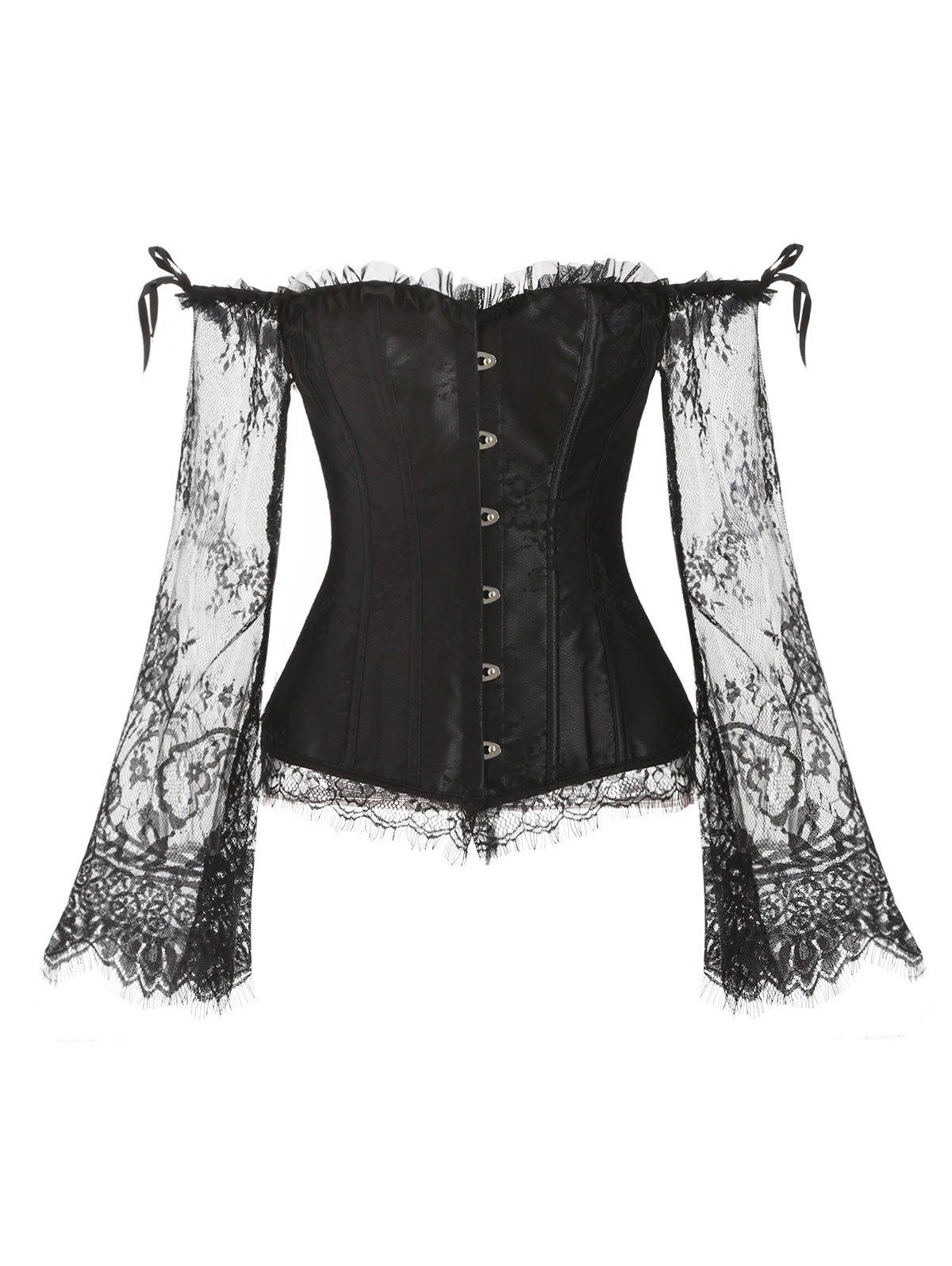 Outfit Ruffles Lace Sleeves Steel Boned Corset Set