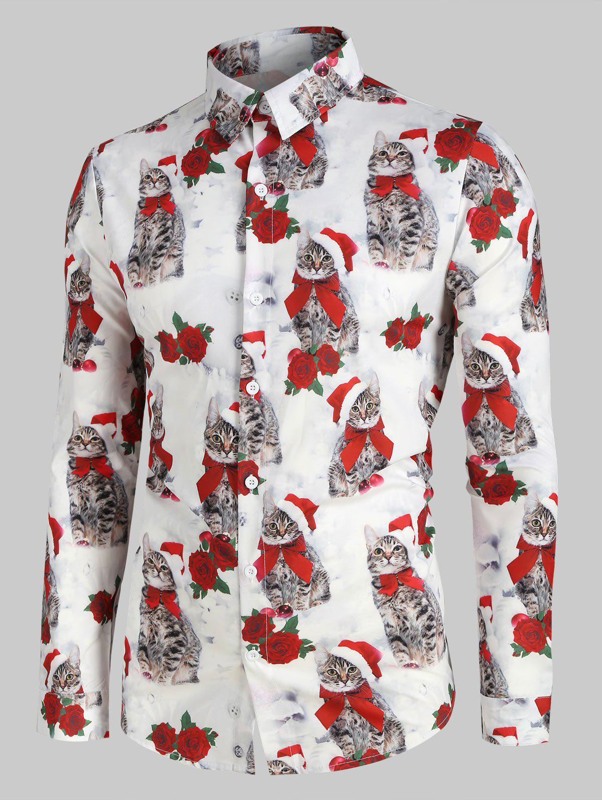 Affordable Christmas Rose Cat Pattern Long-sleeved Shirt