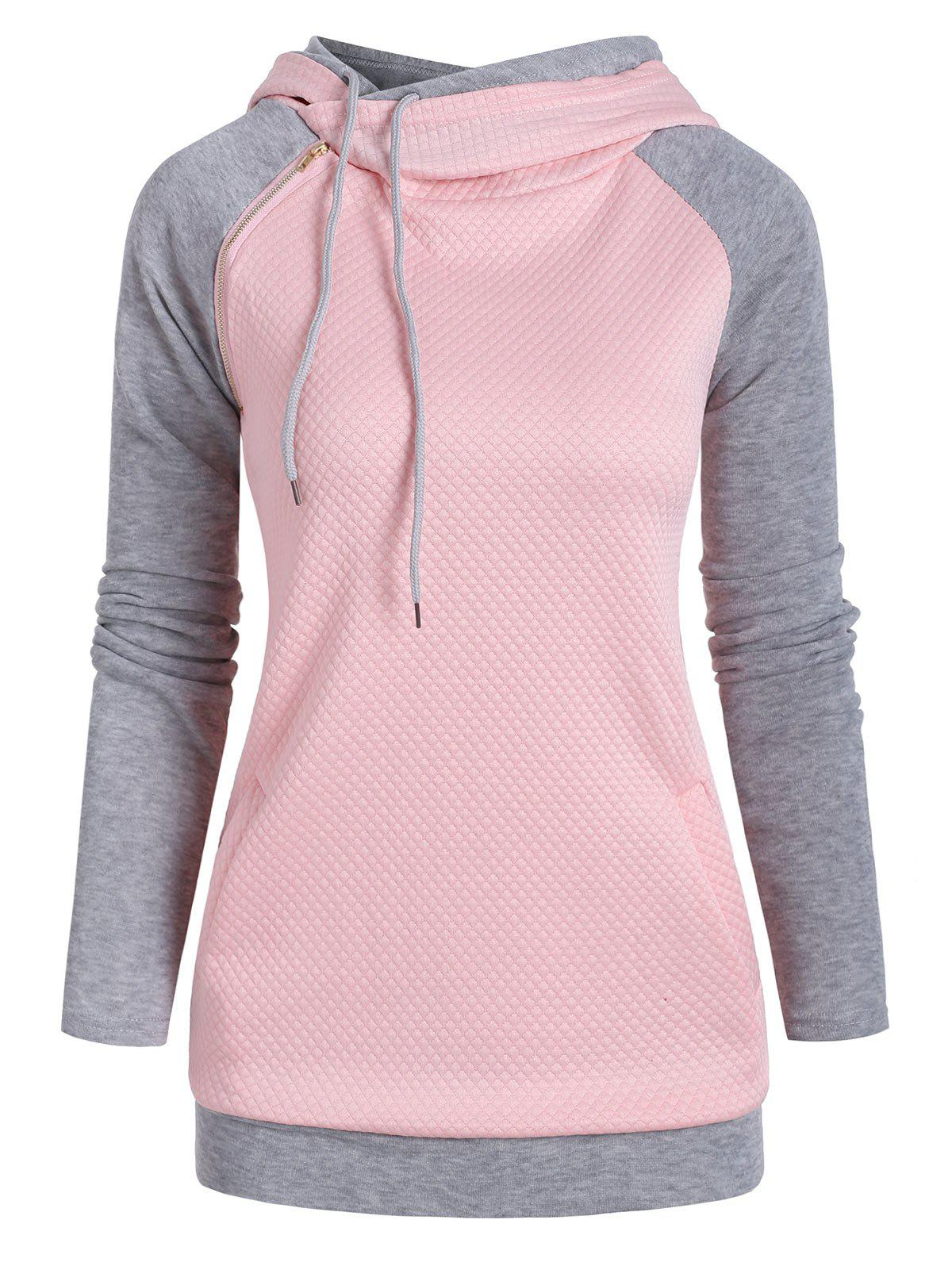 Fashion Heathered Textured Zipper Embellished Drawstring Hoodie