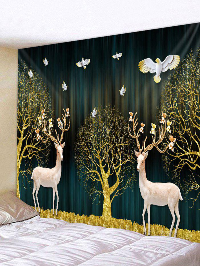 Latest Christmas Tree Deers Print Wall Tapestry