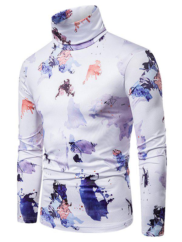 Cheap Colored Ink Painting Print Turtleneck T-shirt