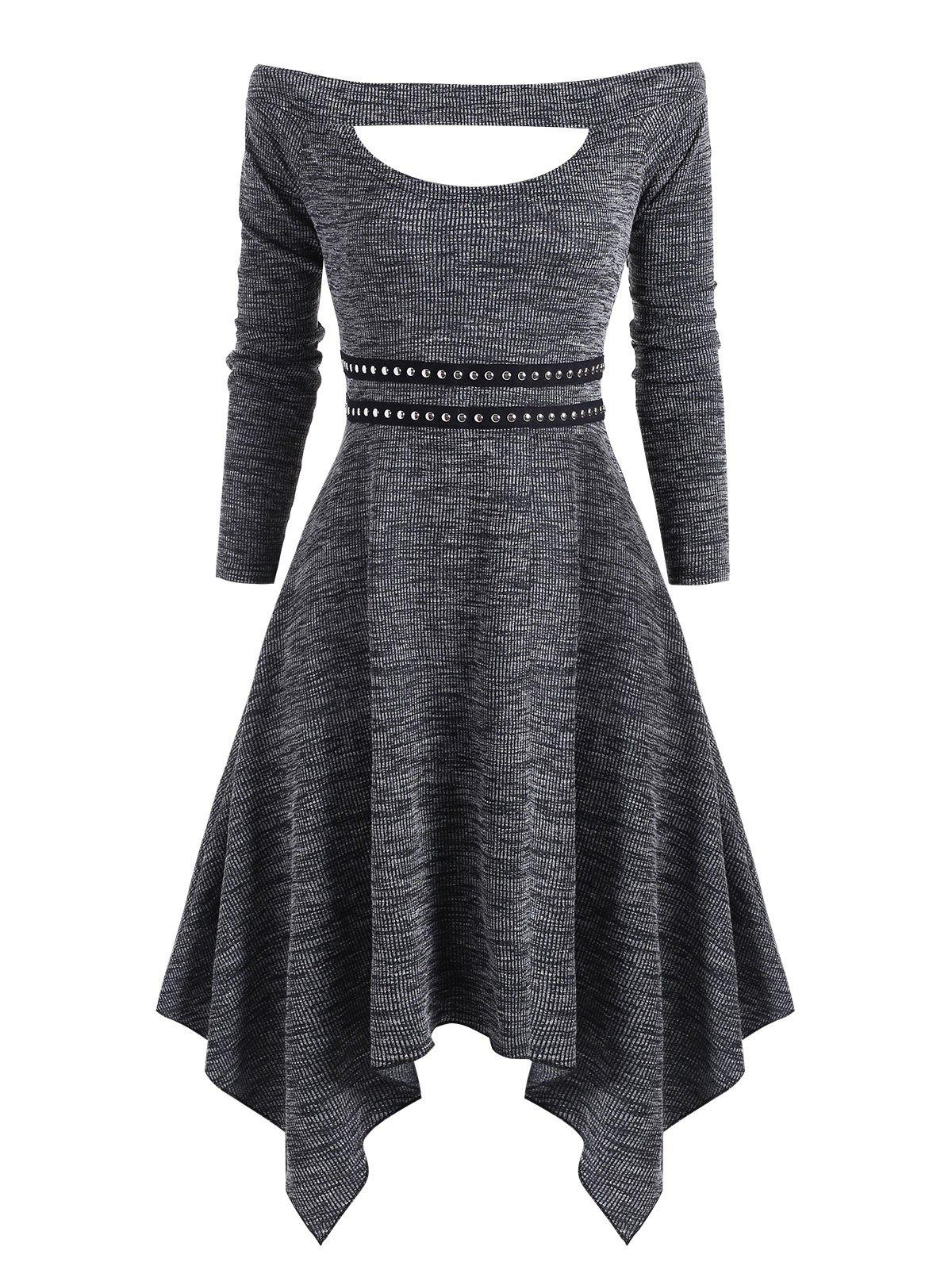 Sale Knitted Off Shoulder Rivet Asymmetrical Dress