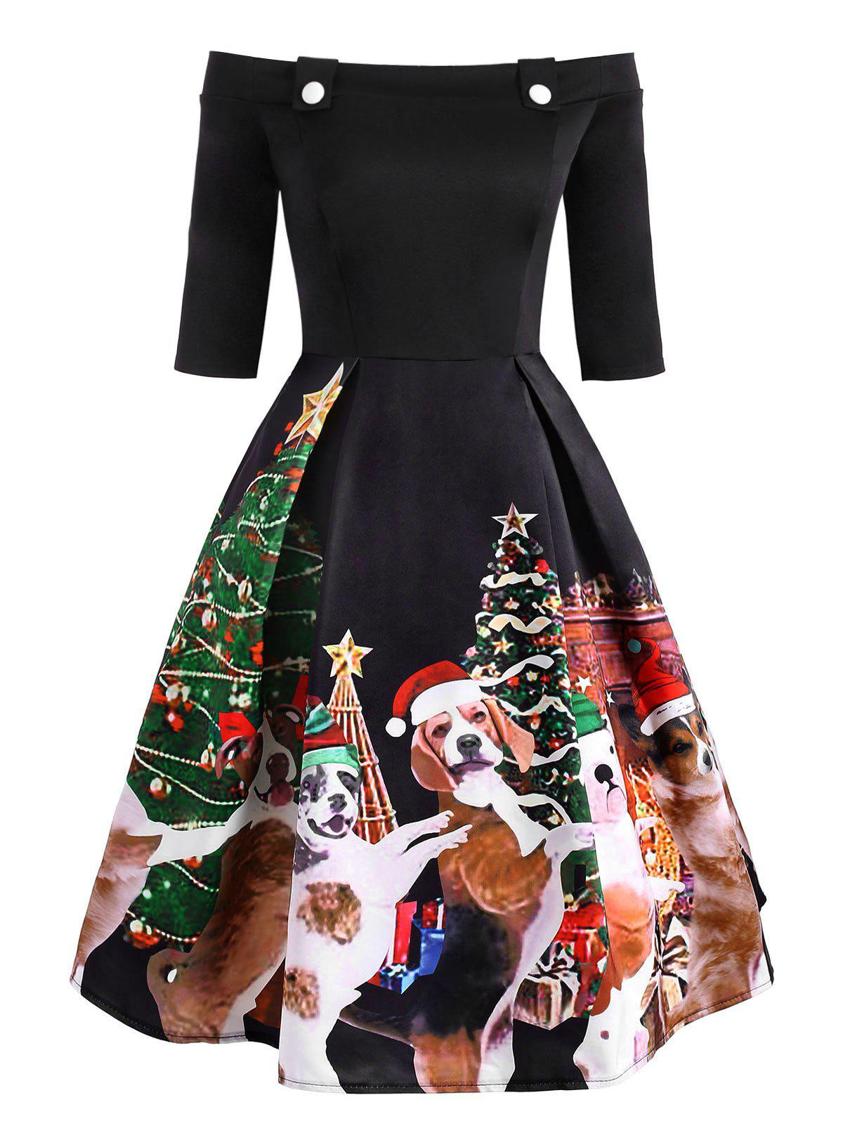 Trendy Christmas Dog Print Off Shoulder Party Dress
