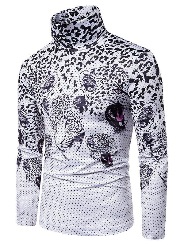 Fancy Leopard Polka Dots Print Turtleneck Long Sleeve T-shirt