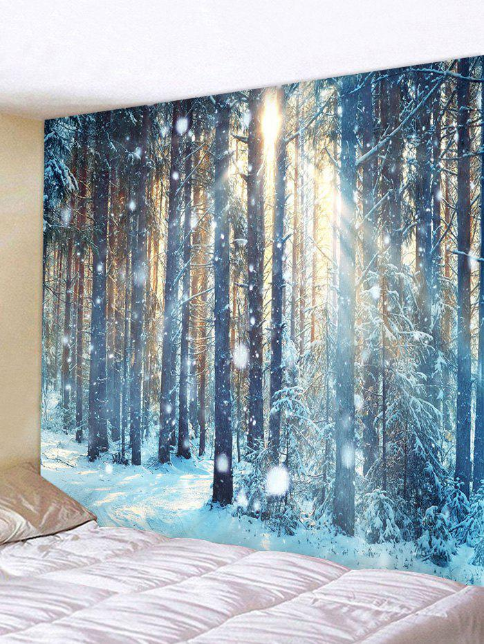 Sunlight Snow Forest Print Tapestry Wall Hanging Art Decoration, Multi