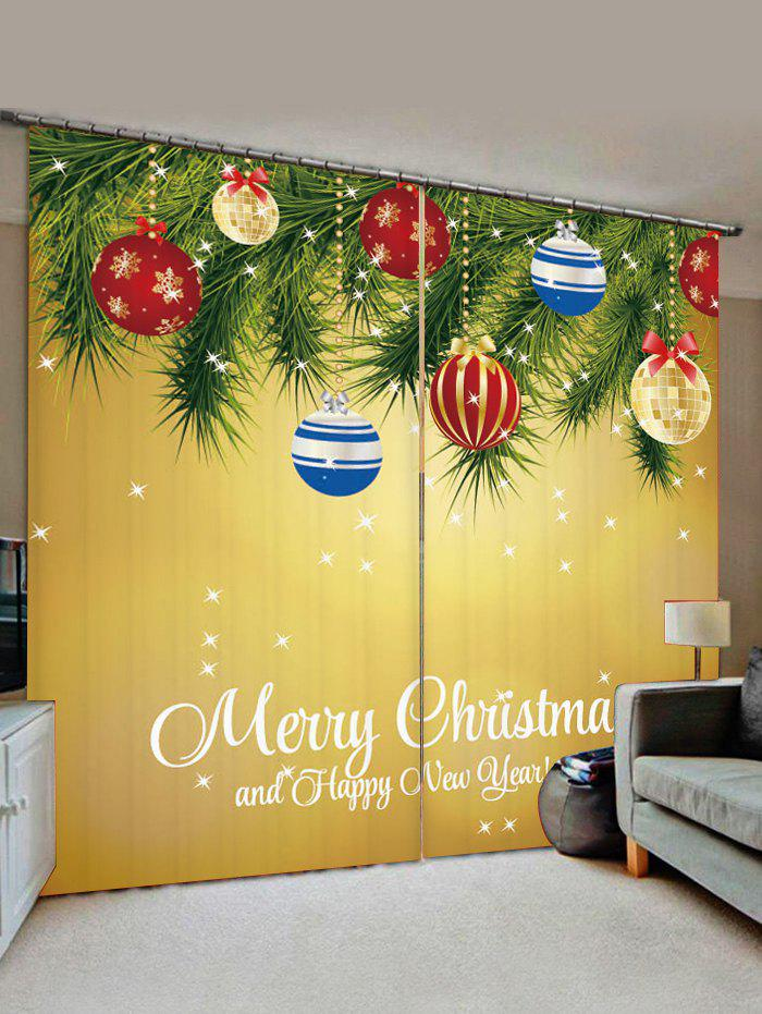 Unique 2 Panels Christmas Tree Balls Greeting Print Window Curtains