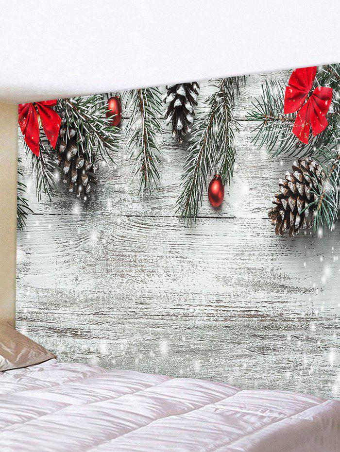 Shops Christmas Tree Bowknot Wood Grain Print Tapestry Wall Hanging Art Decoration