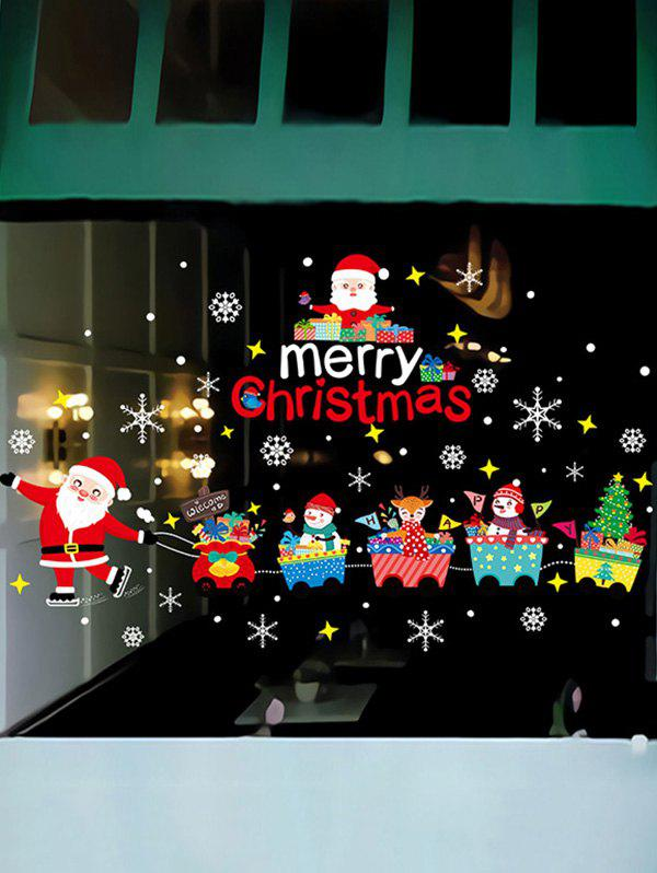 Affordable Christmas Santa Claus Train Print Removable Wall Art Stickers