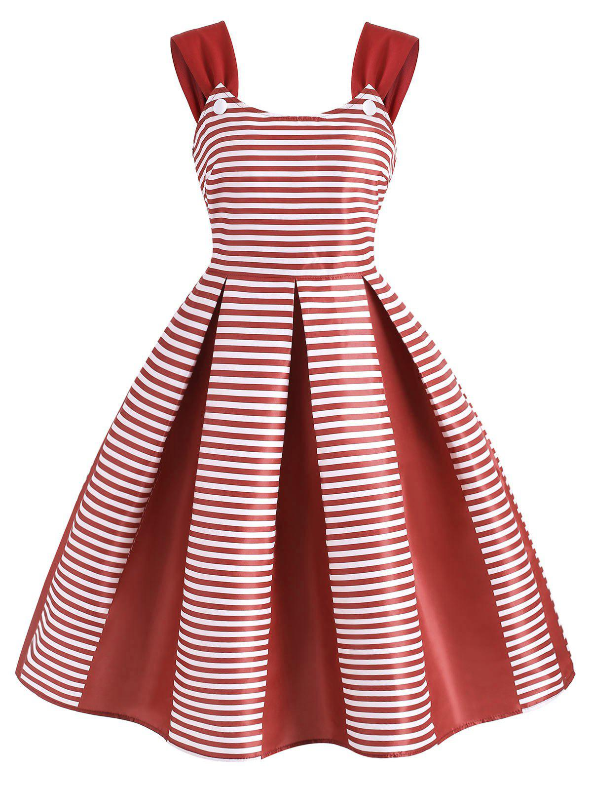 Discount Striped Sleeveless Party Dress