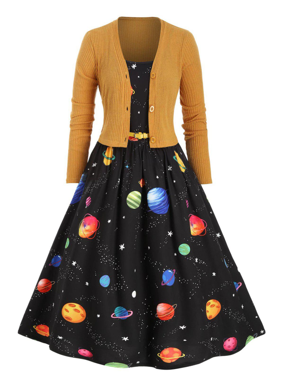 Cheap Plus Size Planet Print Dress with Cropped Cardigan