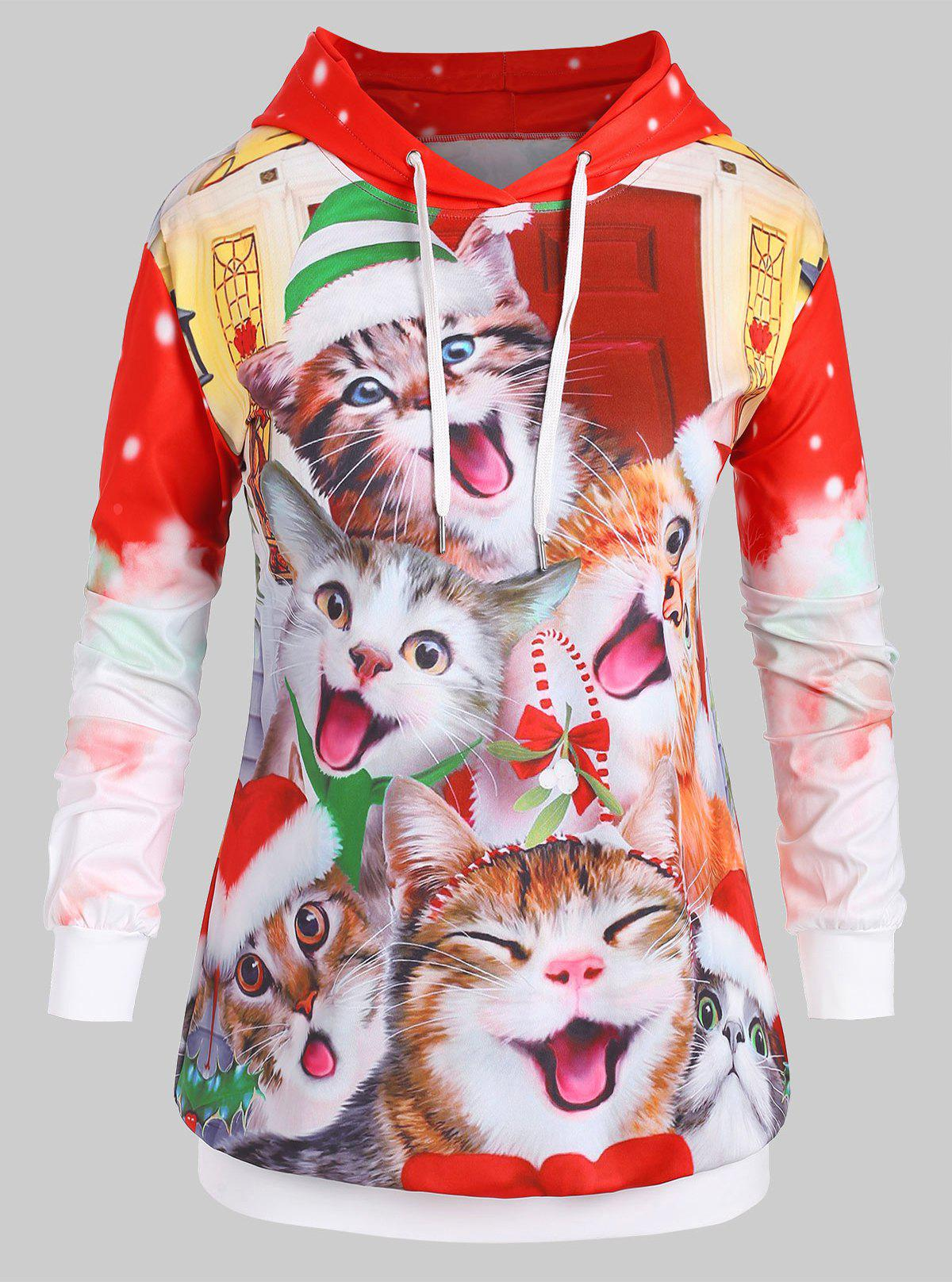Store Plus Size Christmas Drawstring Cat Print Hoodie
