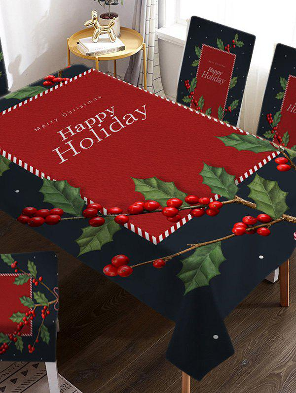 Affordable Christmas Tree Berry Print Fabric Tablecloth