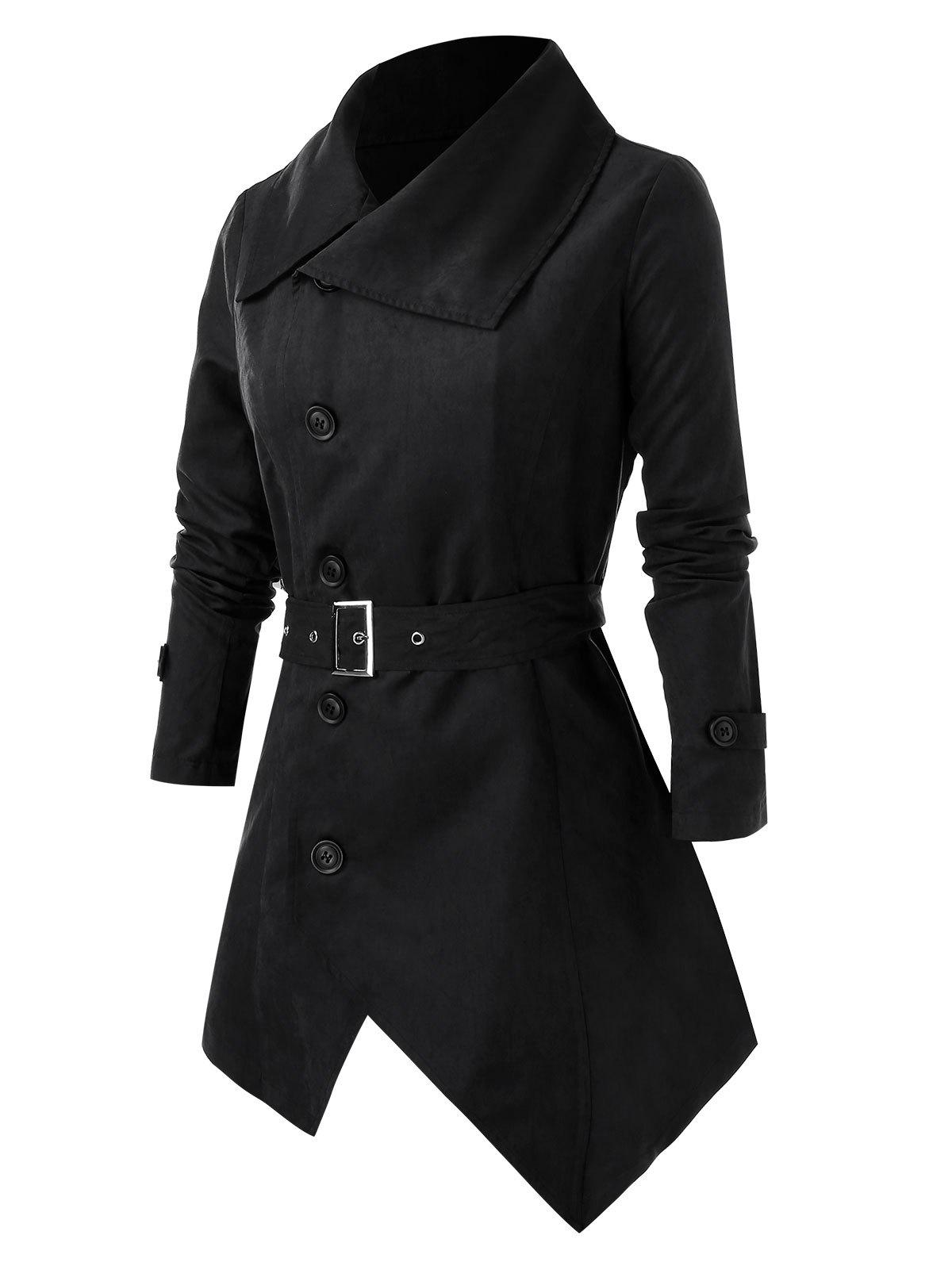 Shops Plus Size Button Asymmetric Coat with Belt