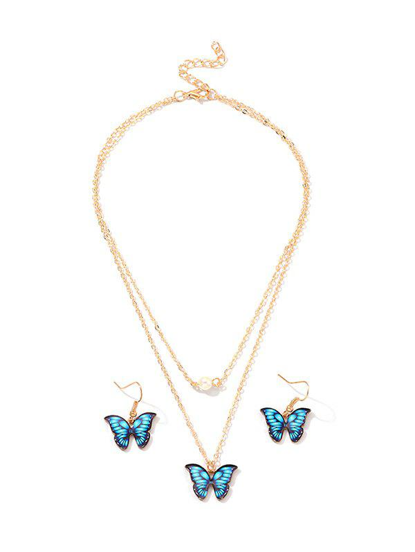 Outfits Butterfly Pendant Layers Necklace Earrings Set