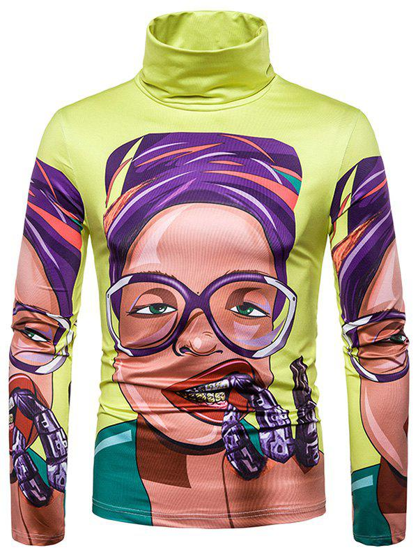 Latest Character Woman 3D Print Turtleneck Casual T-shirt