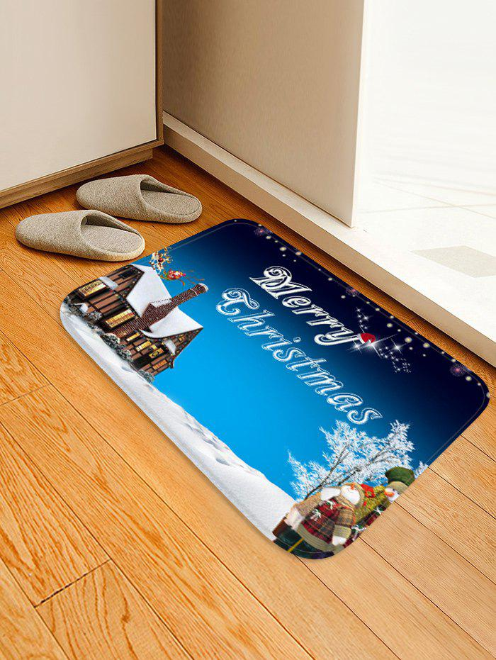 Buy Christmas Snowman House Greeting Pattern Water Absorption Area Rug