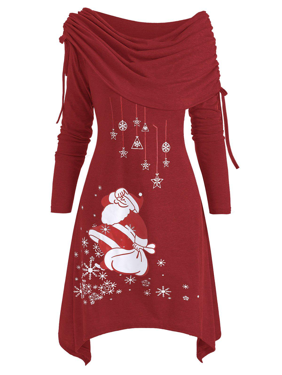 Hot Christmas Santa Claus Cinched Off Shoulder Asymmetrical Dress