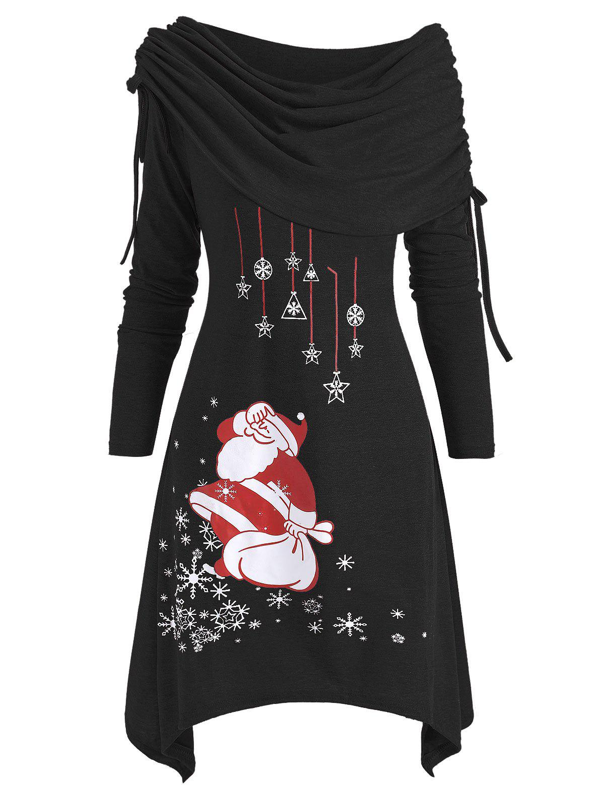 Chic Christmas Santa Claus Cinched Off Shoulder Asymmetrical Dress