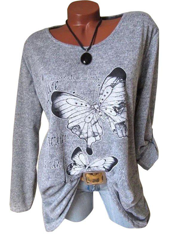 Chic Plus Size Butterfly Print Marled T Shirt