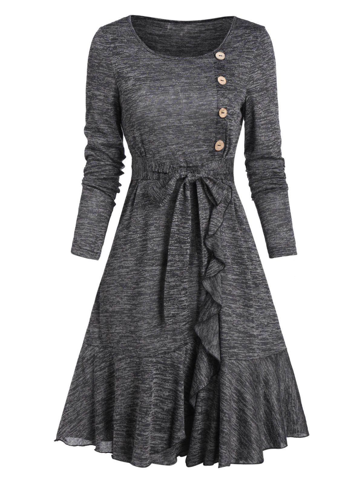 Outfit Mock Button Belted Ruffled Hem Dress