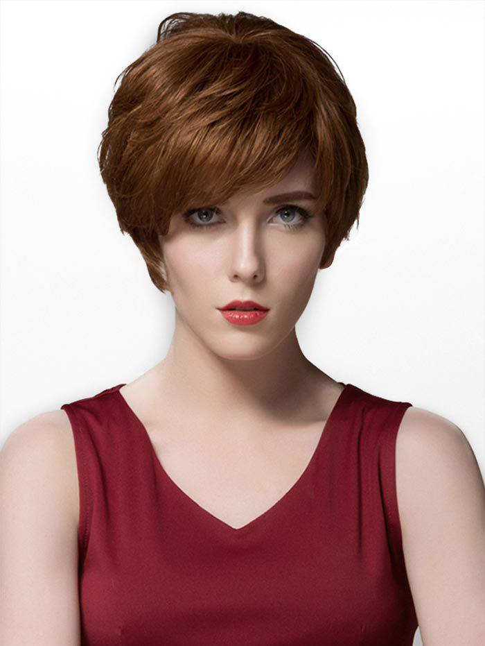 Cheap Side Part Straight Short Layered Human Hair Wig