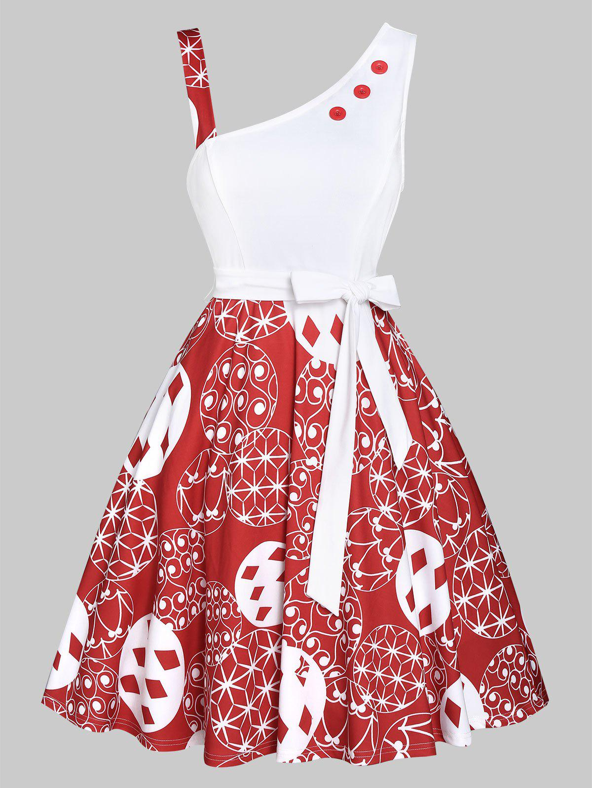 Shops Christmas Ball Print Mock Button Belted Skater Dress