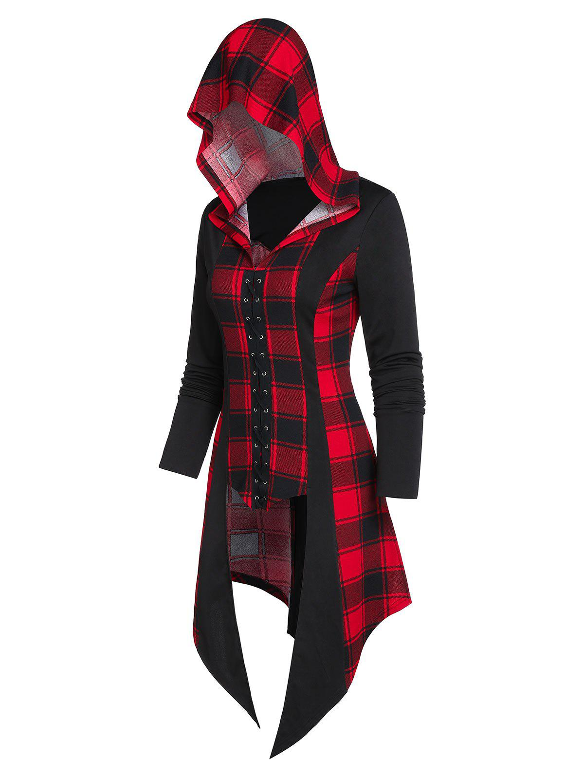 Outfit Hooded Plaid Print Lace-up Asymmetric High Low T-shirt