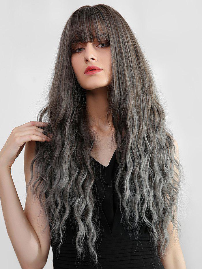 Chic Ombre Full Bang Long Wavy Synthetic Wig