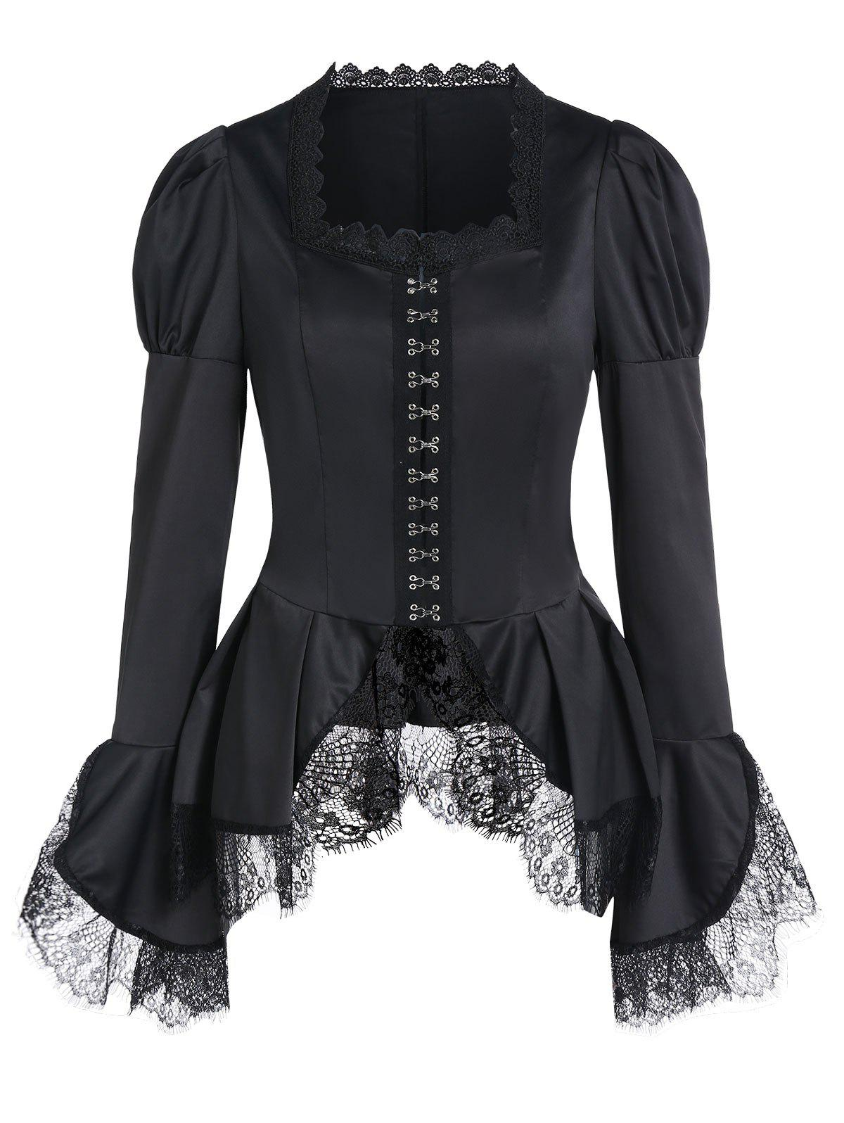Outfit Bell Sleeve Lace Insert Hook and Eye Peplum Coat