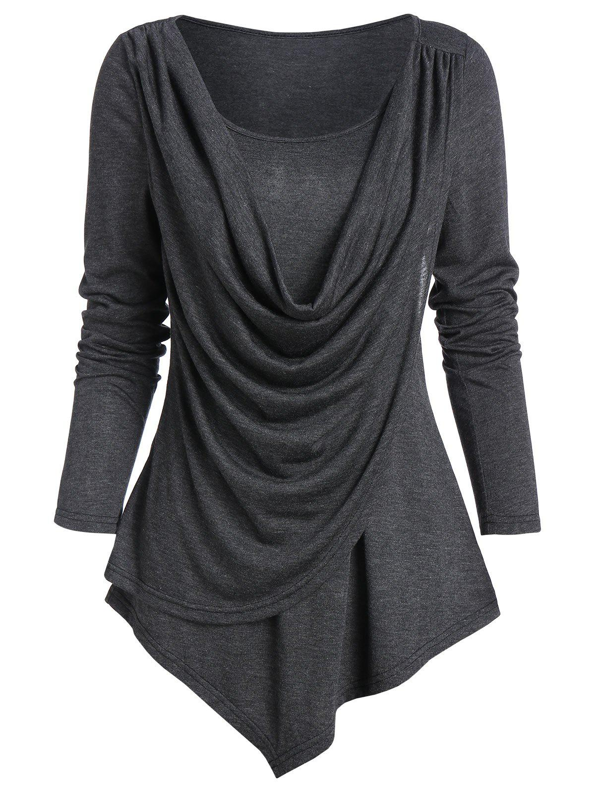 Heathered Pointed Hem Draped Overlap T-shirt фото