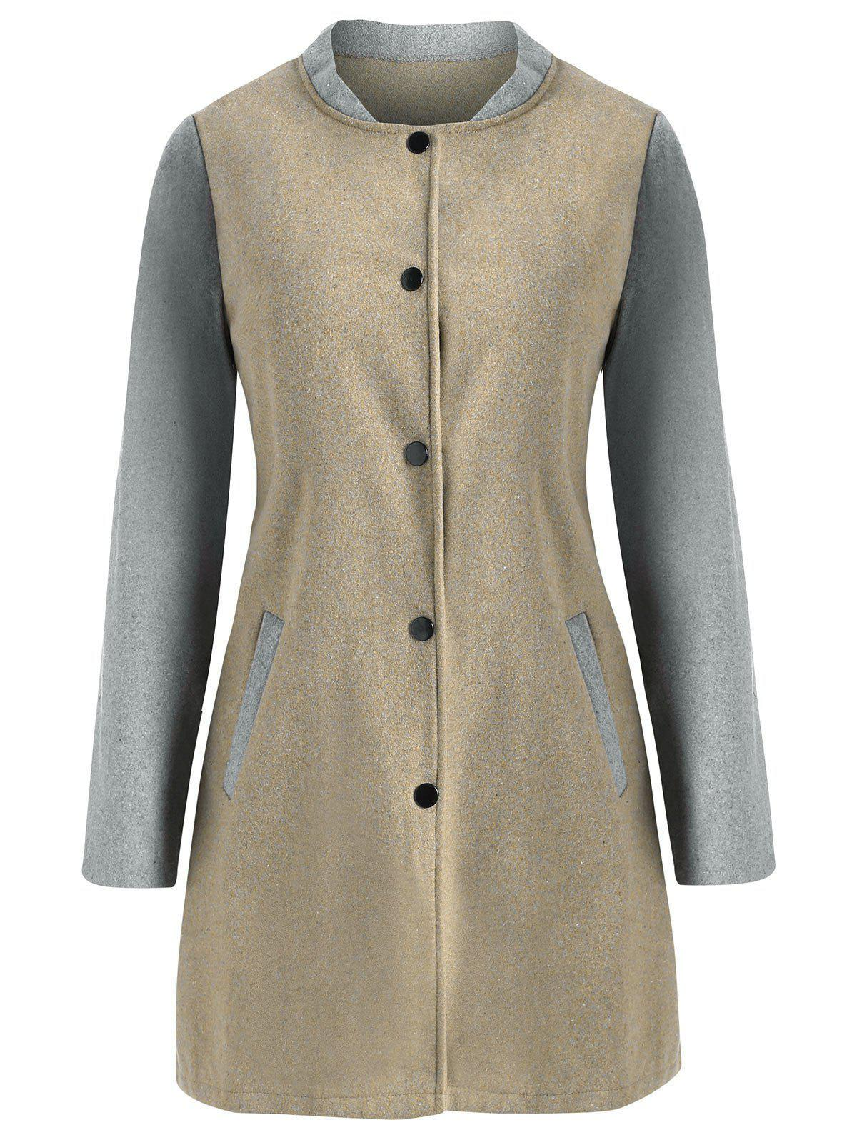 Trendy Two Tone Wool Blend Snap Button Coat