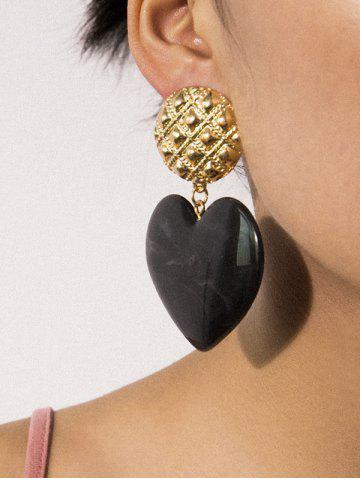 Round Carved Heart Drop Earrings
