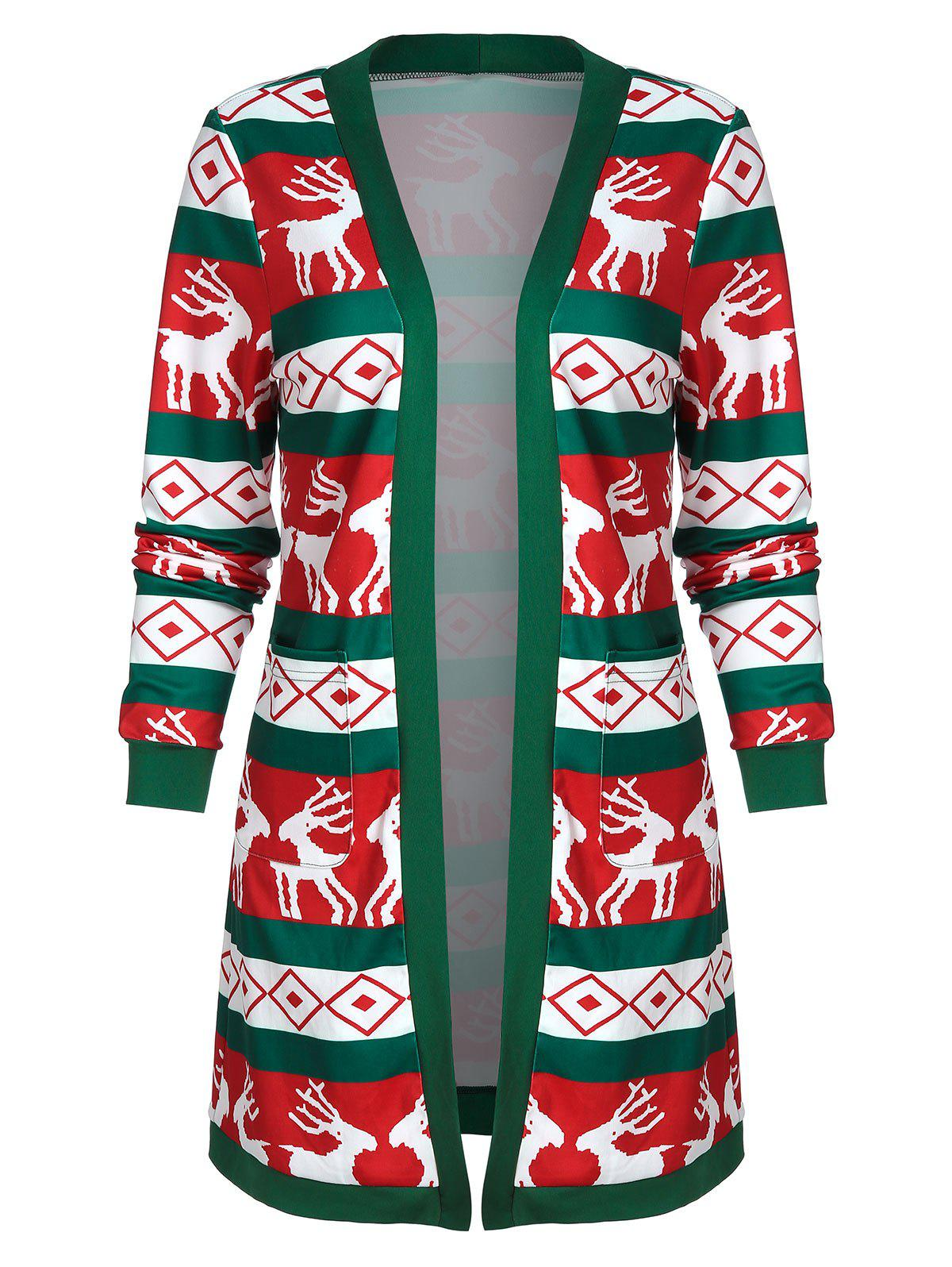 Outfits Christmas Open Front Elk Print Long Coat