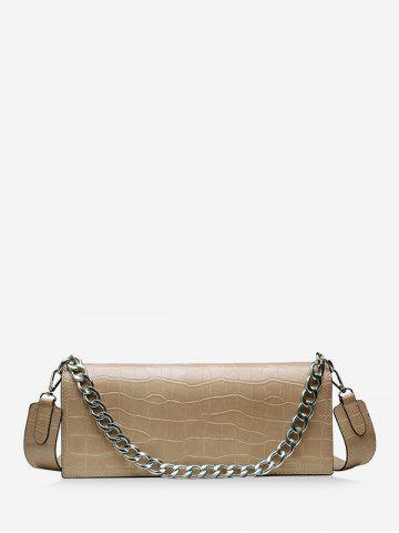 Chain Decorate Embossed Shoulder Bag