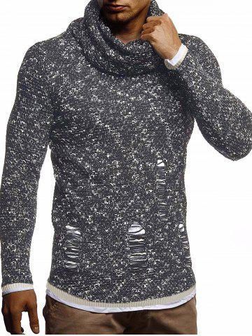 Ripped Decorated Casual Pullover Sweater - BLACK - S