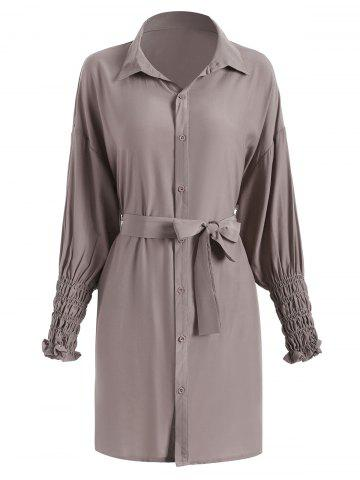 Shirred Cuffs Belt Long Sleeve Shirt Dress
