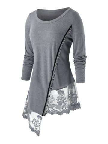Plus Size Asymmetrical Chain Panel Embroidered Long Sleeve Tee