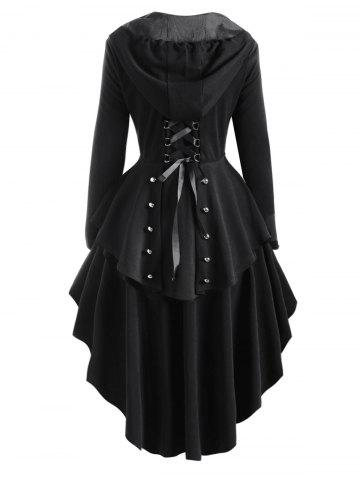Hooded Lace Up High Low Trench Coat - BLACK - M