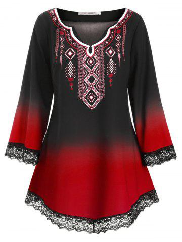Longline Printed Scalloped Lace Panel Plus Size Blouse - RED - L