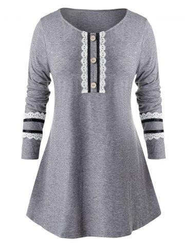 Plus Size Contrast Stripes Lace Button Long Sleeve T-shirt - BATTLESHIP GRAY - L
