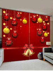 2 Panels Christmas Balls Bells Print Window Curtains -
