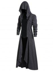 Faux Leather Insert Button Up High Low Hoodie -